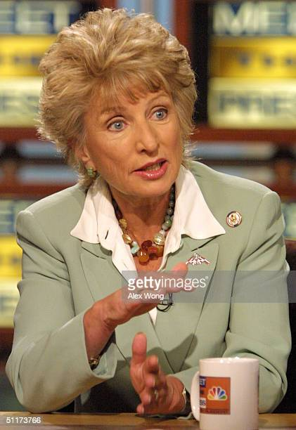 S Rep Jane Harman gestures as she speaks on NBC's 'Meet the Press' during a taping of the show at the NBC studios August 15 2004 in Washington DC...