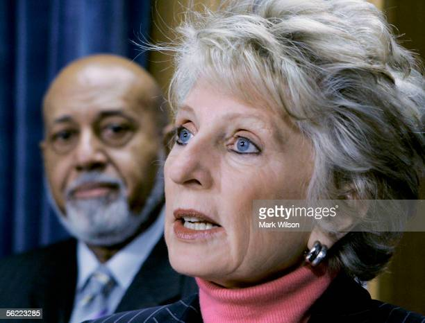 S Rep Jane Harman speaks while US Rep Alcee Hastings stands nearby during a press conference on prewar intelligence on Capitol Hill November 18 2005...