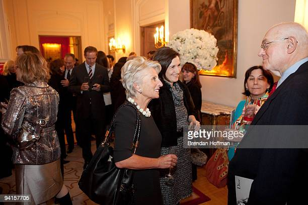 Rep Jane Harman talks with CNN political analyst Bill Schneider at a reception hosted by Dior and Ambassador Vimont in honor of the Congressional...