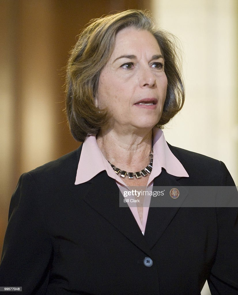Rep. Janice Schakowsky, D-Ill., leaves the House Democratic Caucus meeting in the Cannon Caucus Room after casting her vote for the chairman of the House Energy and Commerce Committee on Thursday, Nov. 20, 2008.