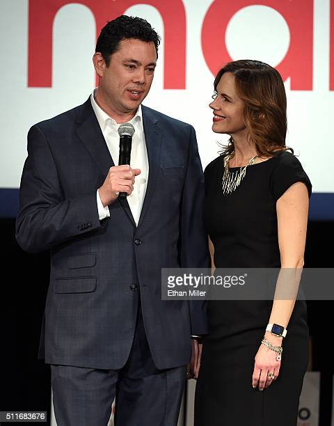 S Rep Jason Chaffetz and his wife Julie Chaffetz attend a rally for Republican presidential candidate Sen Marco Rubio at the Texas Station Gambling...