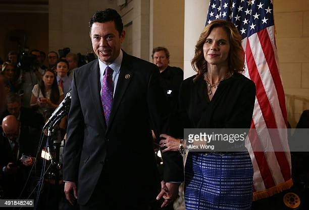 S Rep Jason Chaffetz and his wife Julie leave after a closed House Republican election meeting to pick the next GOP House Speaker nominee October 8...