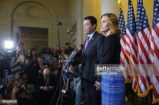 Rep Jason Chaffetz RUT with Julie at his side speaks following the Republican nomination election for House speaker in the Longworth House Office...