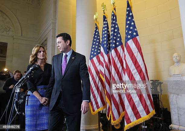 Rep Jason Chaffetz RUT with wife Julie at his side arrives to speak to the media following the Republican nomination election for House speaker in...