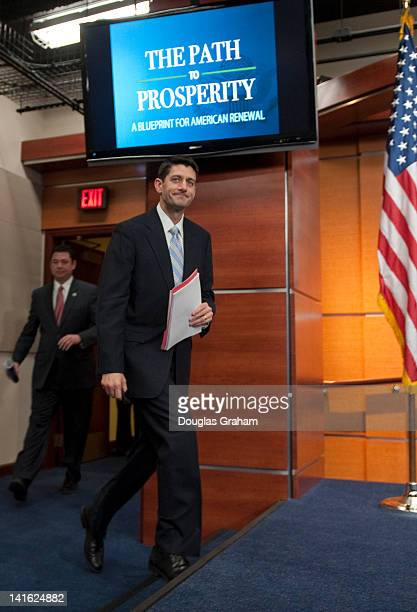 Rep Jason Chaffetz RUtah and House Budget Chairman Paul Ryan RWis arrive at House Studio A for the House Budget Committee's news conference on the...
