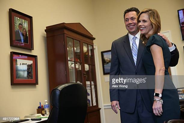 Rep Jason Chaffetz shares a moment with his wife Julie Chaffetz in his office October 7 2015 on Capitol Hill in Washington DC Rep Chaffetz is running...