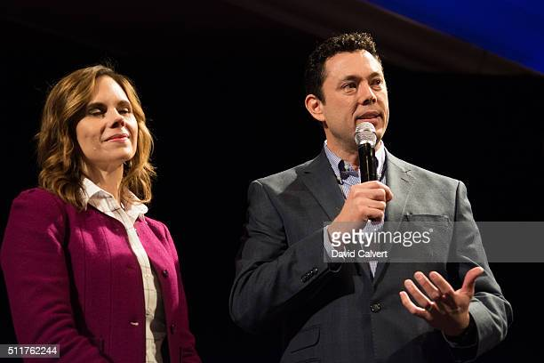 S Rep Jason Chaffetz speaks at a rally for Republican presidential candidate Sen Marco Rubio as wife Julie looks on at the Peppermill Resort...