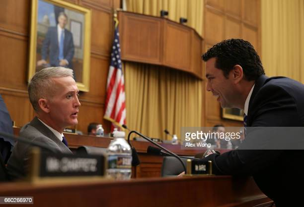 S Rep Jason Chaffetz talks to Rep Trey Gowdy during a markup hearing before the House Judiciary Committee March 29 2017 on Capitol Hill in Washington...