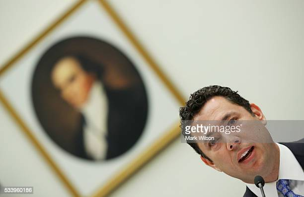 Rep Jason Chaffetz testifies during a House Judiciary Committee hearing on Capitol Hill May 24 2016 in Washington DC The committee was examining the...