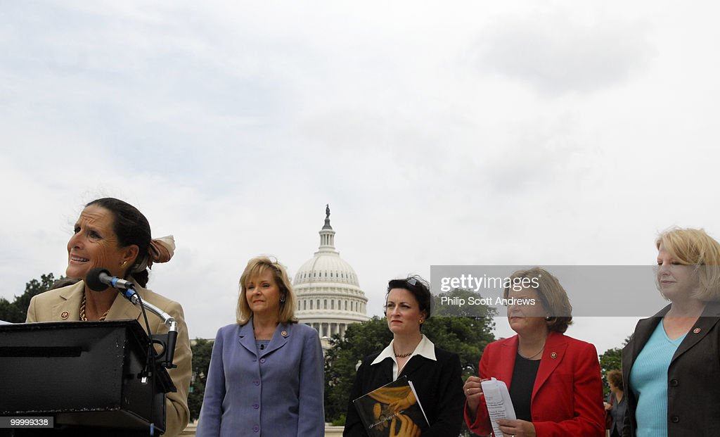 Rep. Jean Schmidt, R-Oh, Rep. Mary Fallin, R- Ok, Marjorie Dannenfelser, President of the SBA List, Rep. Ileana Ros-Lehtinen, R-Fl, and Rep. Marilyn Musgrave, R- Co, speak outside the Cannon House Office Building about changes to the Mexico City Policy on abortion.
