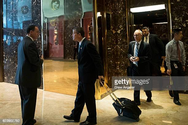 Rep Jeb Hensarling chairman of the House Financial Services Committee exits an elevator at Trump Tower November 17 2016 in New York City...