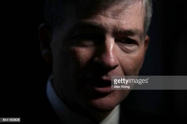 S Rep Jeb Hensarling speaks as he is interviewed by a TV channel after a vote at the Capitol September 8 2017 in Washington DC The House has passed a...