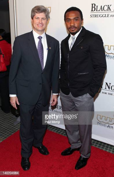 Rep Jeff Fortenberry and Enyinna Nwigwe attend the 'Black November' film screening at The Library of Congress on February 29 2012 in Washington DC