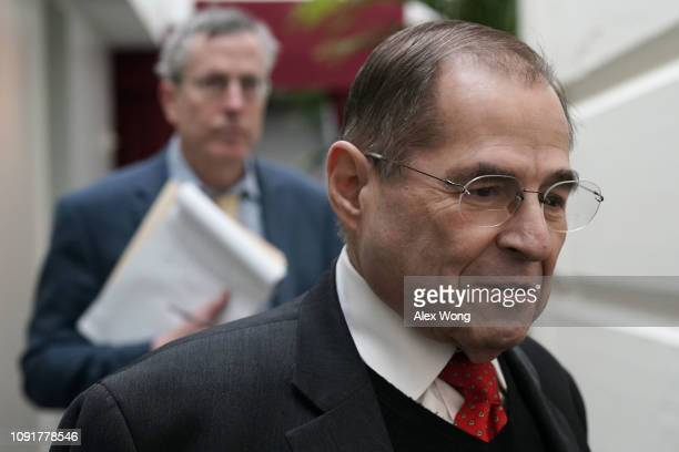 S Rep Jerrold Nadler arrives at a House Democratic Caucus meeting at the US Capitol January 9 2019 in Washington DC House Democrats gathered to...