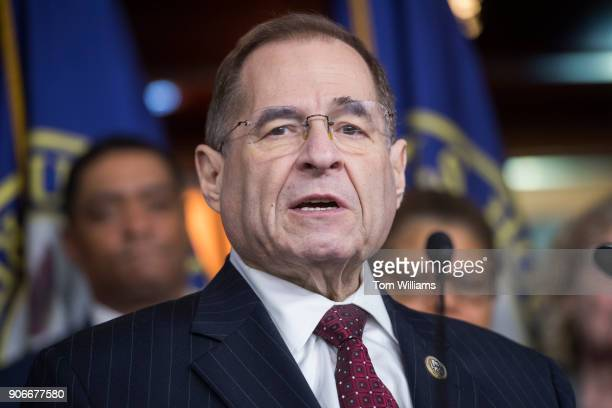 Rep Jerrold Nadler DNY conducts a news conference in the Capitol Visitor Center to discuss a resolution to censure President Trump for derogatory...