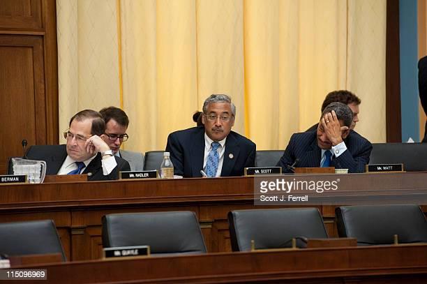 Rep Jerrold Nadler DNY Rep Robert C Scott DVa and Rep Melvin Watt DNC listen as Rep Dan Lungren RCalif speaks on an amendment during the House...