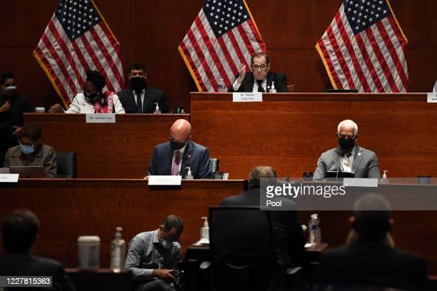 Rep Jerrold Nadler questions Attorney General William Barr who appears before the House Oversight Committee on July 28 2020 on Capitol Hill in...