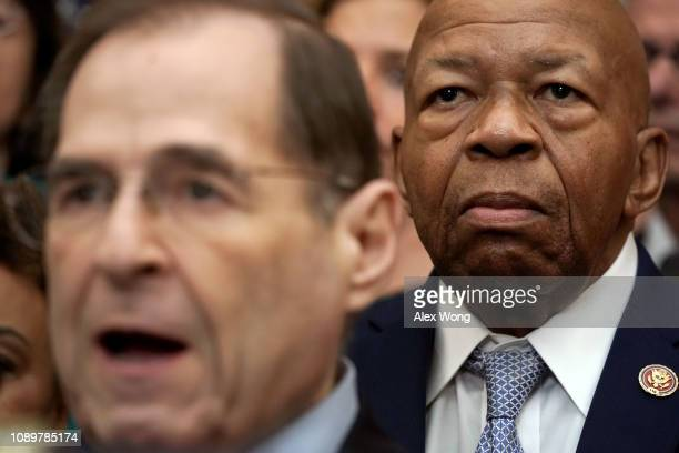 S Rep Jerrold Nadler speaks as Rep Elijah Cummings listens during a news conference at the US Capitol January 4 2019 in Washington DC US Speaker of...