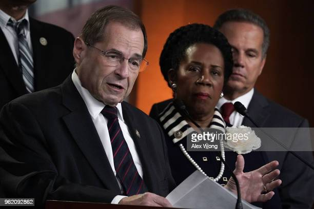 S Rep Jerrold Nadler speaks as Rep Sheila Jackson Lee and Rep David Ciclline listen during a news conference to denounce a meeting between the...