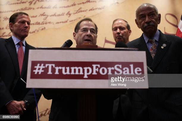 S Rep Jerrold Nadler speaks as Sen Richard Blumenthal Sen Tom Udall and Rep John Conyers listen during a news conference June 20 2017 on Capitol Hill...