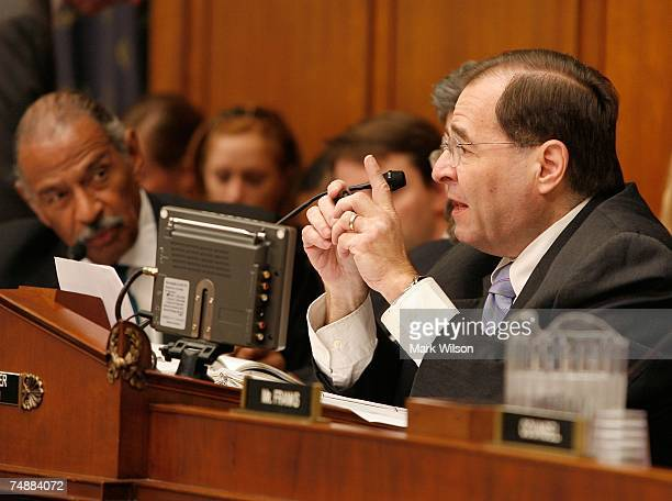Rep Jerrold Nadler speaks during a House Judiciary Committee hearing on Capitol Hill June 25 2007 in Washington DC The committee heard testimony on...
