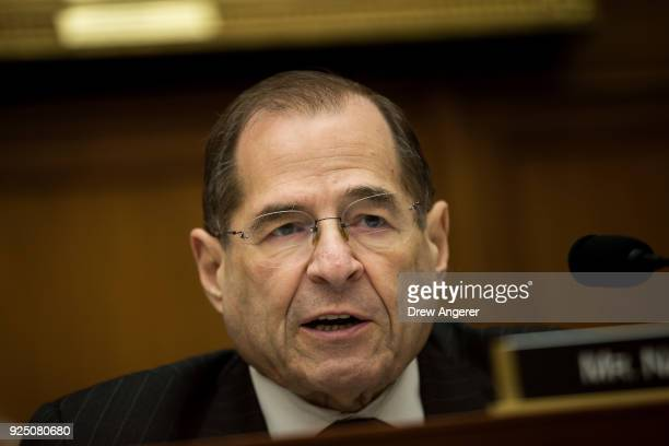 S Rep Jerrold Nadler speaks during a House Judiciary Subcommittee hearing on the proposed merger of CVS Health and Aetna on Capitol Hill February 27...