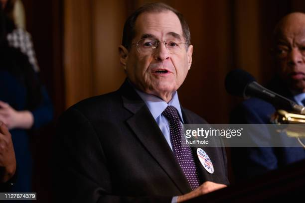 Rep Jerrold Nadler speaks during a news conference to introduce HR 4 Voting Rights Advancement Act on Capitol Hill in Washington DC on Tuesday Feb 26...