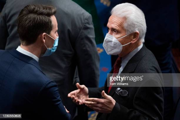 Rep. Jim Costa, D-Calif., right, talks with Sen. Josh Hawley, R-Mo., during a joint session of Congress to certify the Electoral College votes of the...