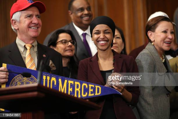 Rep Jim Costa Rep Xochitl Torres Small Rep Al Lawson Rep Ilhan Omar and Rep Nydia Velazquez participate in the Fostering Undergraduate Talent by...