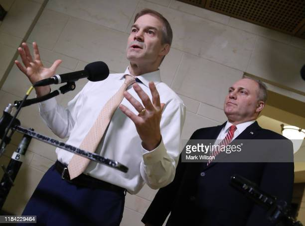 Rep Jim Jordan and House Republican Whip Steve Scalise speak to the media outside of a closeddoor deposition on Capitol Hill October 29 2019 in...