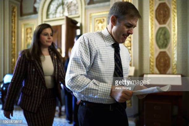 Rep. Jim Jordan and Rep. Elise Stefanik are seen outside the Senate chamber prior to the Senate impeachment trial against President Donald Trump at...
