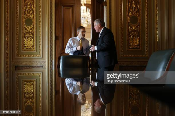 Rep Jim Jordan and Rep Mark Meadows prepare for a news conference on the third day of President Donald Trump's impeachment trial at the US Capitol...