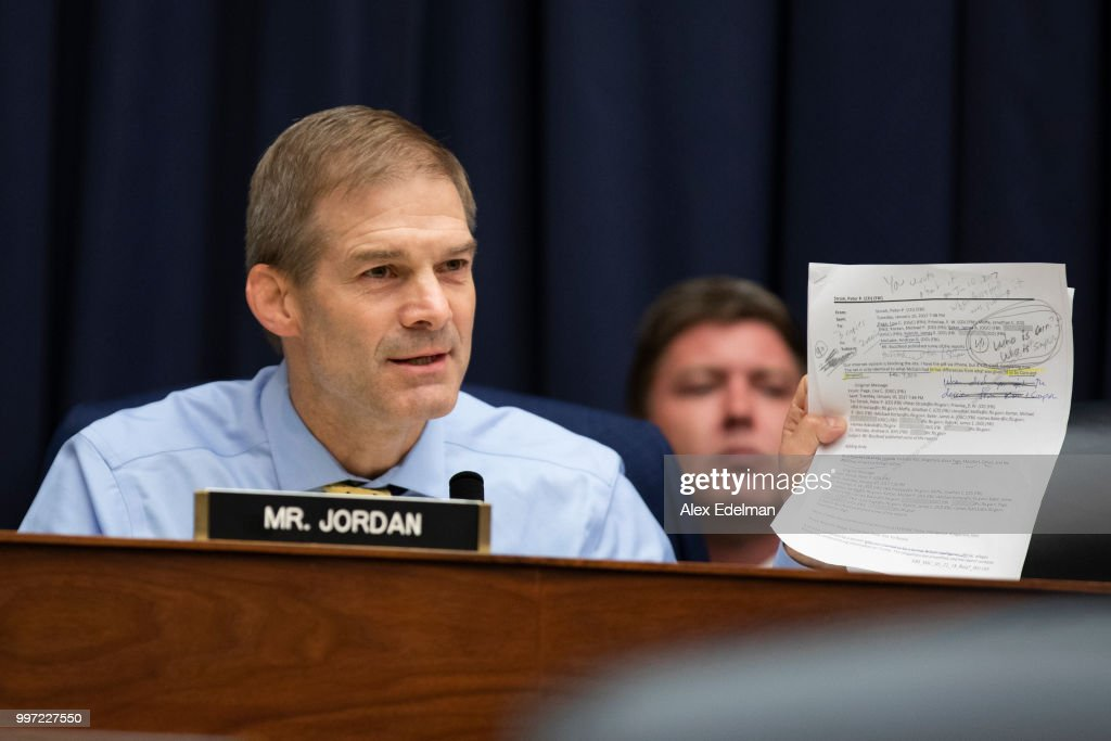 Rep. Jim Jordan (R-OH) asks Deputy Assistant FBI Director Peter Strzok a question on July 12, 2018 in Washington, DC. Strzok testified before a joint committee hearing of the House Judiciary and Oversight and Government Reform committees. While involved in the probe into Hillary Clinton's use of a private email server in 2016, Strzok exchanged text messages with FBI attorney Lisa Page that were critical of Trump. After learning about the messages, Mueller removed Strzok from his investigation into whether the Trump campaign colluded with Russia to win the 2016 presidential election.