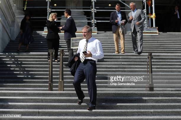 Rep Jim Jordan leaves the US Capitol Building following final votes before a twoweek state work period September 27 2019 in Washington DC Following...