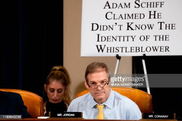 Rep Jim Jordan listens during a House Intelligence Committee impeachment inquiry hearing with Gordon Sondland the US ambassador to the European Union...