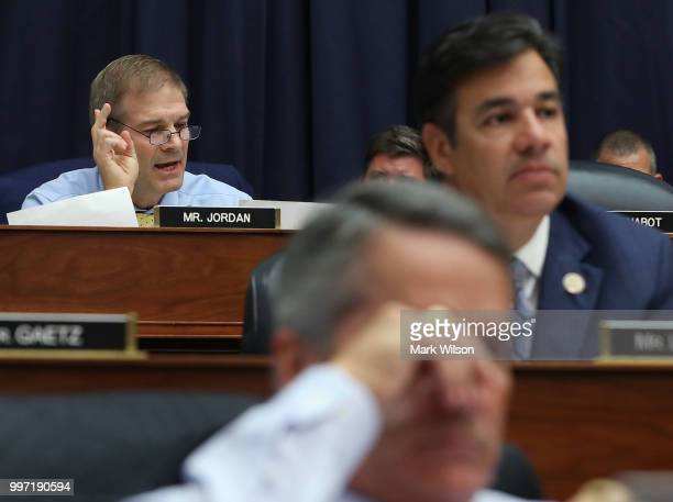 Rep Jim Jordan questions Deputy Assistant FBI Director Peter Strzok during a joint committee hearing of the House Judiciary and Oversight and...