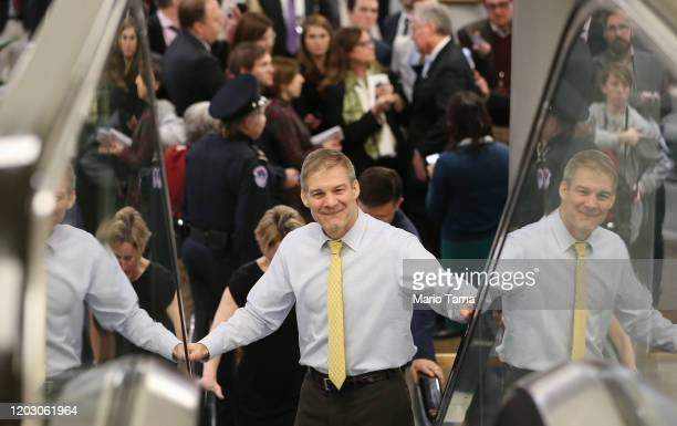 Rep Jim Jordan rides an escalator after speaking to the media during a break in the impeachment trial of US President Donald Trump on January 30 2020...