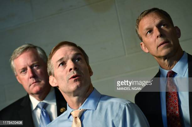 Rep Jim Jordan ROH speaks to reporters before returning to a meeting with former US special representative to Ukraine Kurt Volker at US Capitol in...