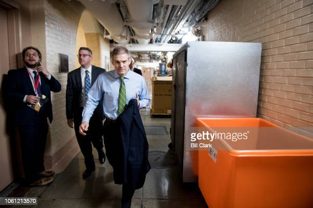 Rep Jim Jordan ROhio arrives for the House Republican leadership elections forum in the Capitol on Tuesday Nov 13 2018