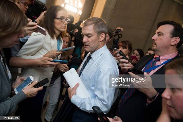 Rep Jim Jordan ROhio arrives to the Capitol office of Speaker Paul Ryan RWis for a meeting on immigration on June 12 2018
