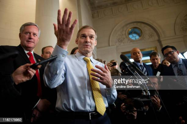 Rep Jim Jordan ROhio joined by other House Republicans conduct a press conference after the House Intelligence Committee hearing on the impeachment...