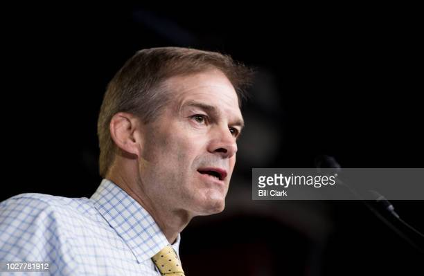 Rep Jim Jordan ROhio participates in the press conference calling on President Trump to declassify the Carter Page FISA applications on Thursday Sept...