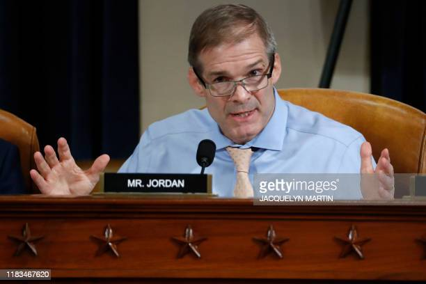 Rep Jim Jordan ROhio questions Ambassador Kurt Volker former special envoy to Ukraine and Tim Morrison a former official at the National Security...