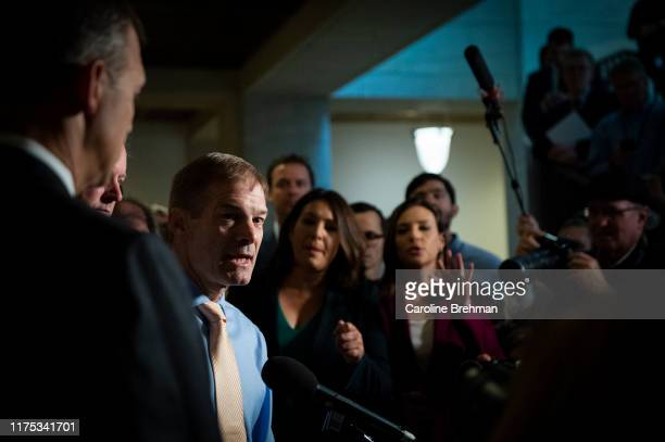 Rep Jim Jordan ROhio speaks to reporters in the Capitol after learning the State Department had blocked Ambassador Gordon Sondland from testifying to...