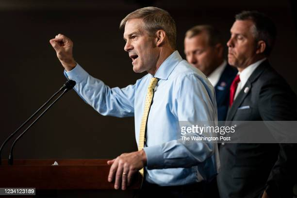 Rep. Jim Jordan, R-Ohio., speaks with House Minority Leader Kevin McCarthy, R-Calif., during a press conference about the Jan. 6 Select Committee on...