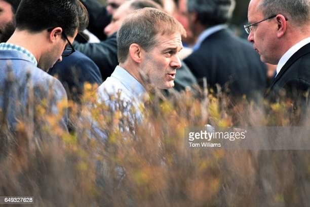 Rep Jim Jordan ROhio speaks with reporters after a news conference with members of the House Freedom Caucus at the House Triangle where they...