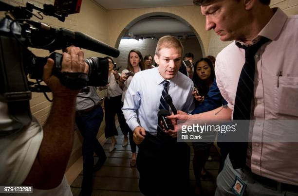 Rep Jim Jordan ROhio speaks with reporters after the House Republican Conference meeting in the Capitol on Wednesday June 20 2018