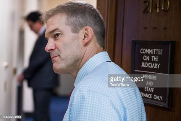 Rep Jim Jordan ROhio talks with a reporter outside a House Judiciary Committee hearing in Rayburn Building on July 24 2018