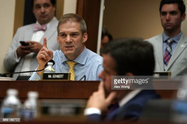 S Rep Jim Jordan speaks during a hearing before the House Judiciary Committee June 28 2018 on Capitol Hill in Washington DC While scheduled to...