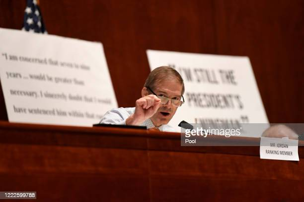 Rep Jim Jordan speaks during a House Judiciary Committee hearing on oversight of the Justice Department and a probe into the politicization of the...